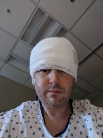 A picture of me with my bandage sinking which blocked my vision. I just felt terrible overall.